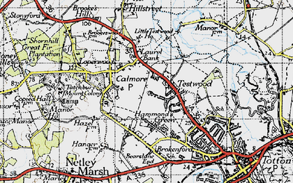 Old map of Calmore in 1945