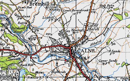 Old map of Calne in 1940