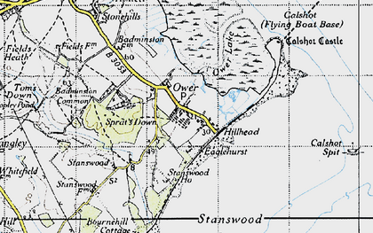 Old map of Calshot in 1945