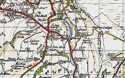 Old map of Calver in 1947