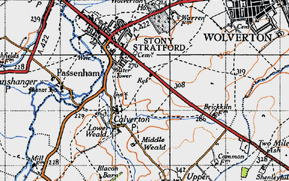 Old map of Calverton in 1946