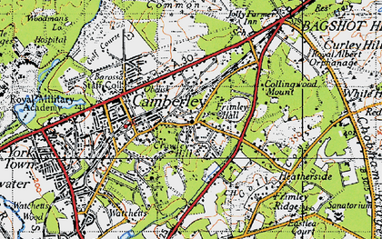 Old map of Camberley in 1940