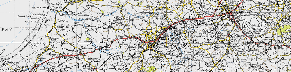 Old map of Camborne in 1946