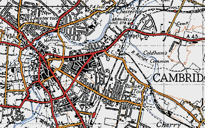 Old map of Cambridge in 1946
