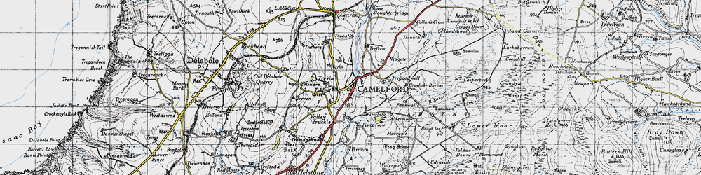 Old map of Camelford in 1946