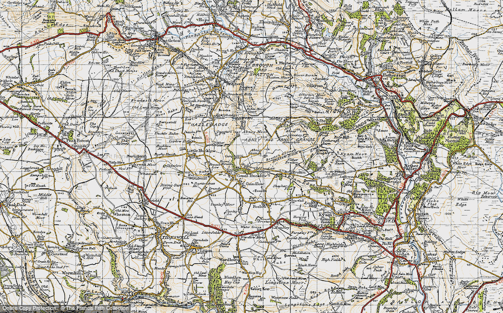 Old Map of Historic Map covering Abney Moor in 1947