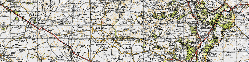 Old map of Abney Moor in 1947