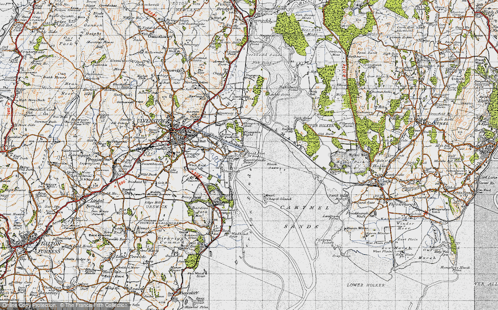 Old Map of Historic Map covering Barker Scar in 1947