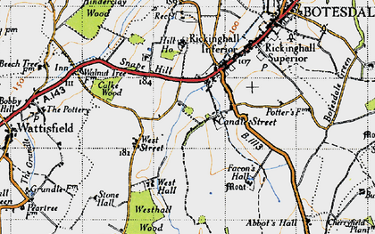 Old map of Westhall Wood in 1946