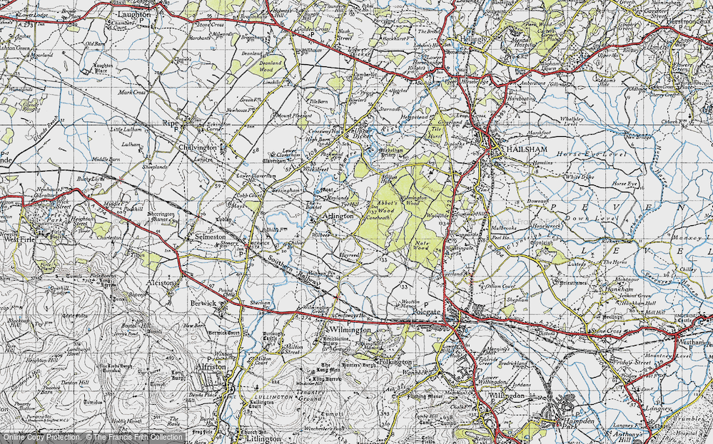 Old Map of Historic Map covering Abbot's Wood in 1940