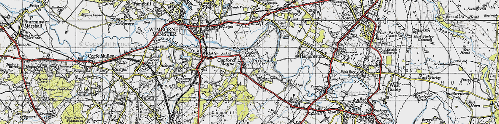 Old map of Canford Magna in 1940