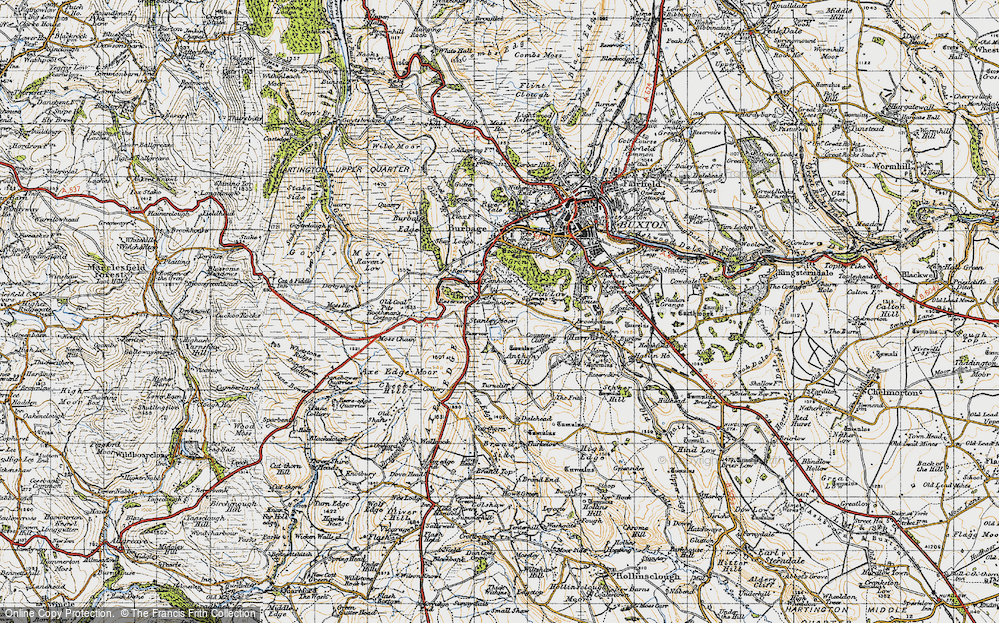 Old Map of Historic Map covering Axe Edge in 1947