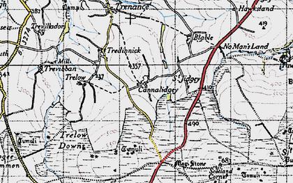 Old map of Cannalidgey in 1946
