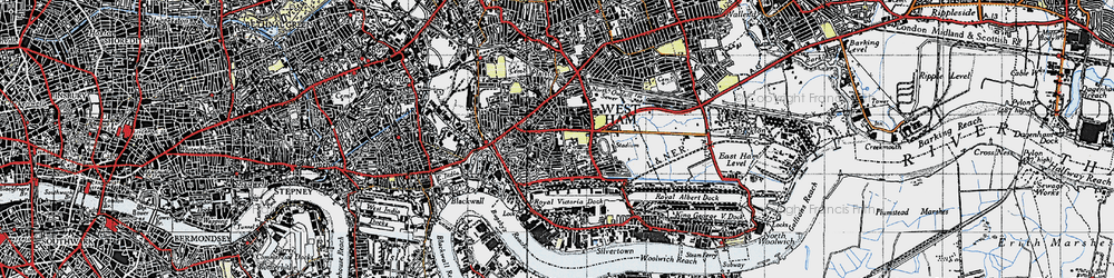 Old map of Canning Town in 1946