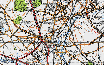 Old map of Cannock in 1946