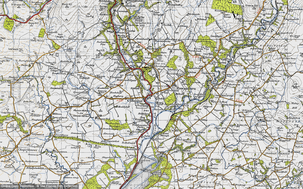 Old Map of Historic Map covering Tinnishall in 1947