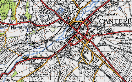 Old map of Canterbury in 1947