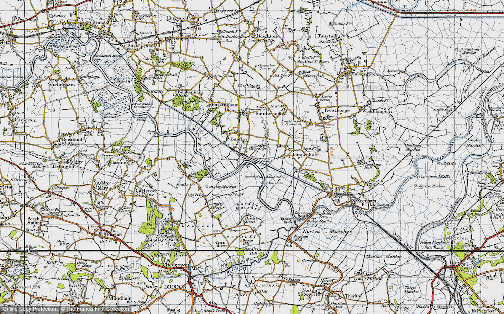 Old Map of Historic Map covering Langley Marshes in 1946