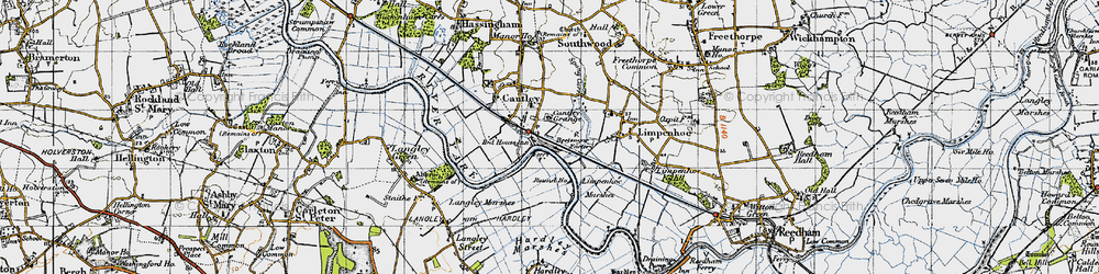 Old map of Langley Marshes in 1946