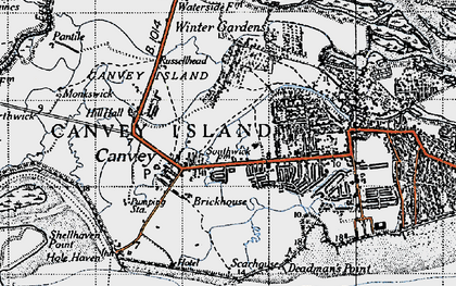 Old map of Canvey Island in 1946