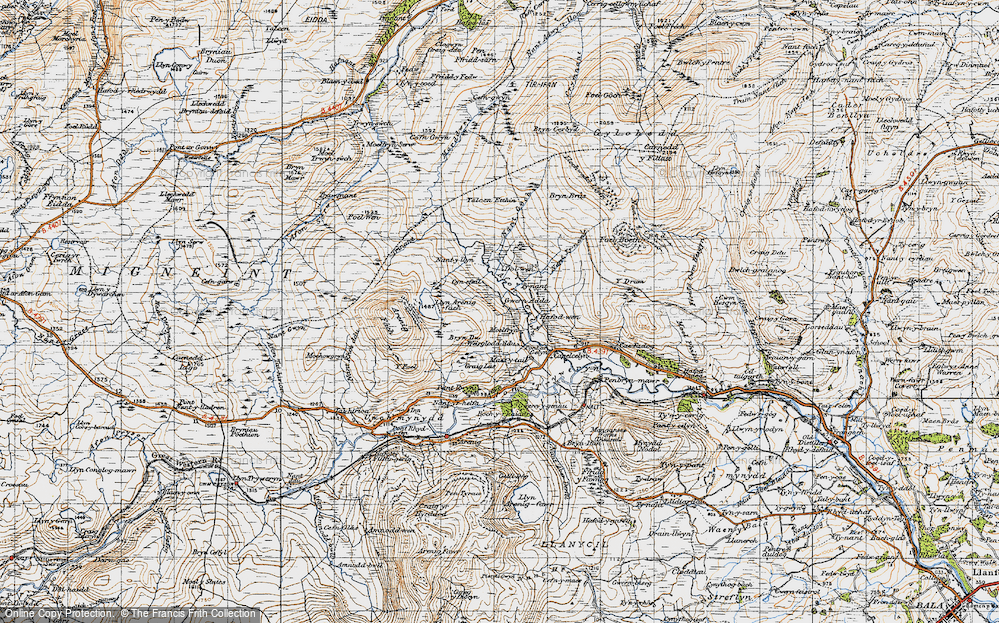 Old Map of Historic Map covering Afon Gelyn in 1947