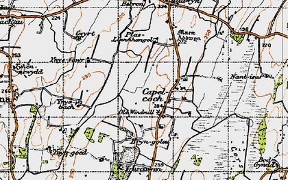 Old map of Ynys Fawr in 1947