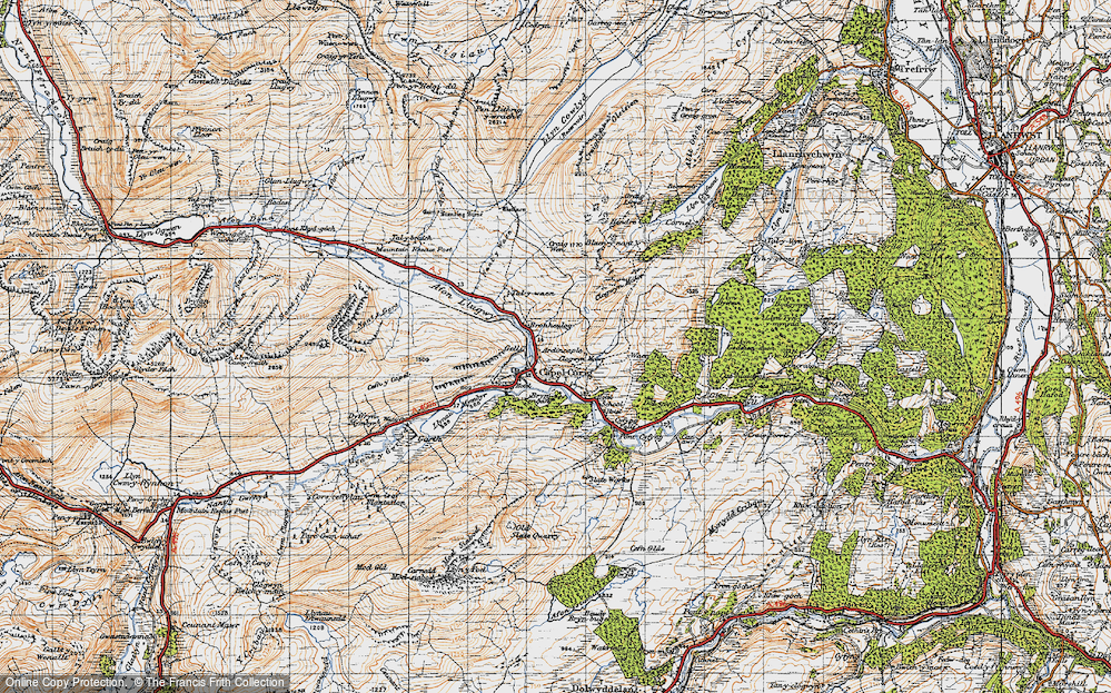 Old Map of Historic Map covering Afon y Bedol in 1947