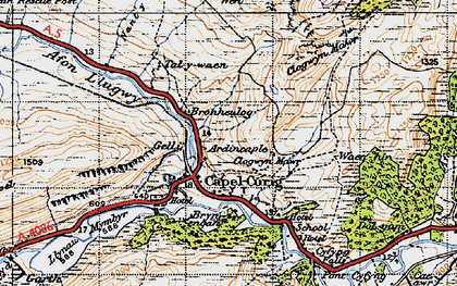 Old map of Capel Curig in 1947