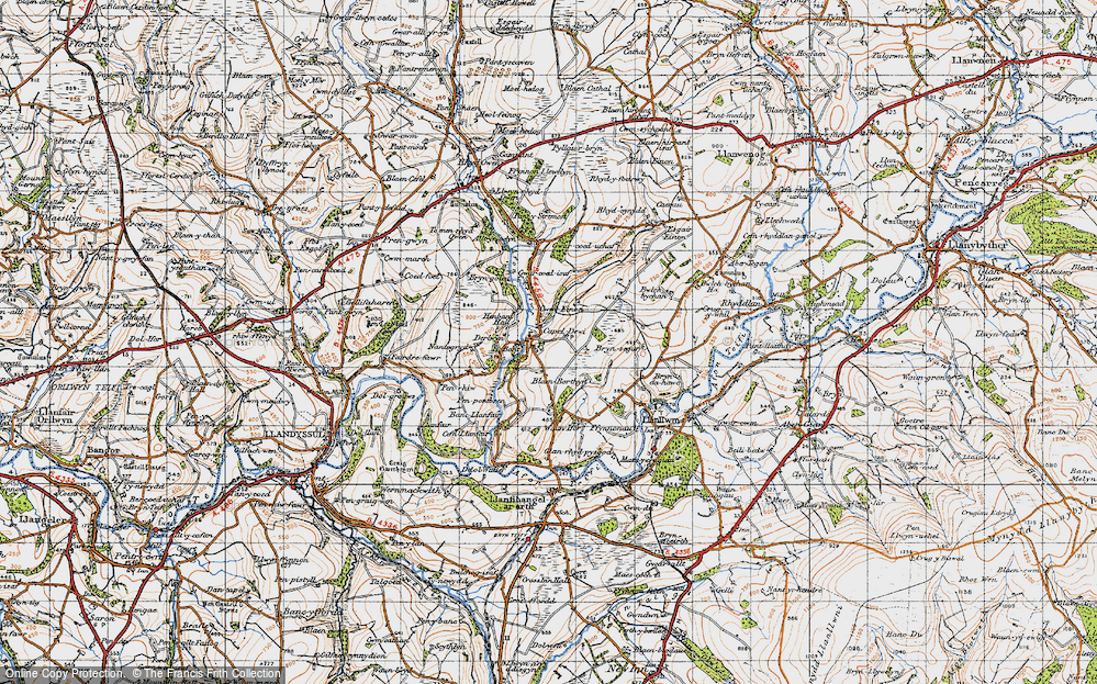 Old Map of Historic Map covering Afon Clettwr in 1947