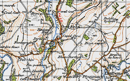 Old map of Afon Clettwr in 1947