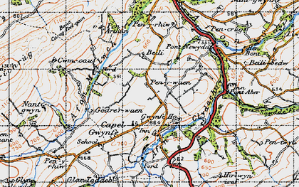 Old map of Capel Gwynfe in 1947