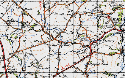 Old map of Capel Hendre in 1947