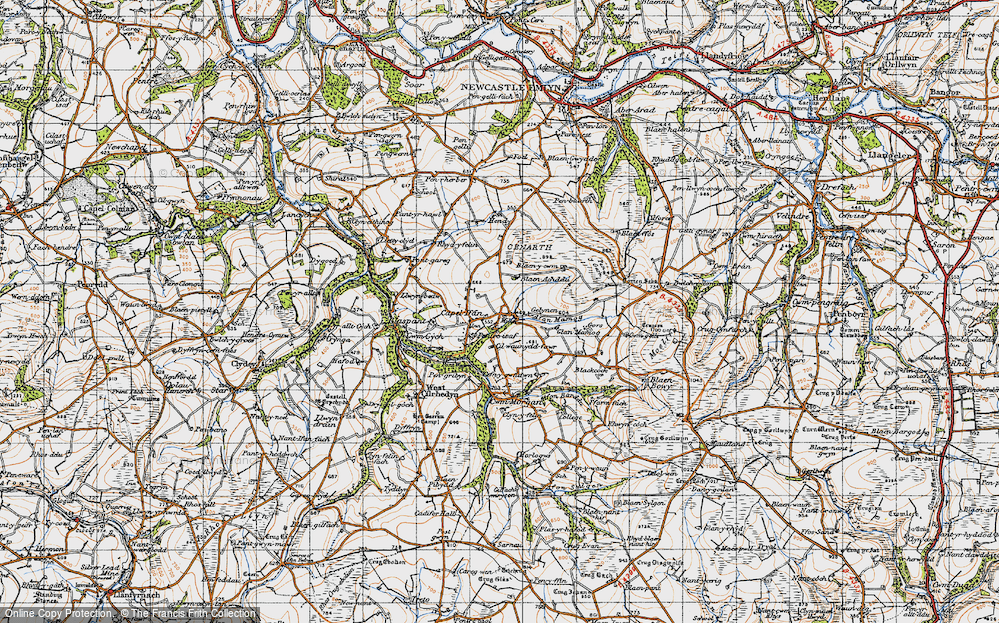 Old Map of Historic Map covering Afon Mamog in 1947