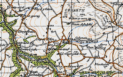 Old map of Capel Iwan in 1947