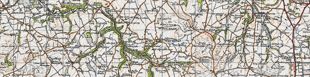 Old map of Afon Mamog in 1947