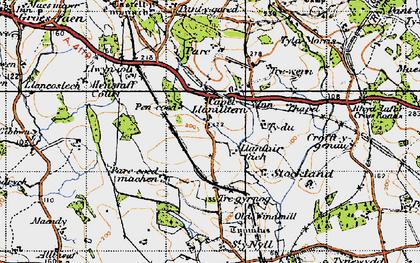 Old map of Capel Llanilltern in 1947