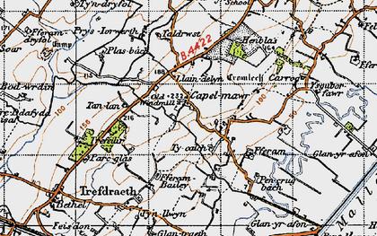Old map of Ysgubor Fawr in 1947