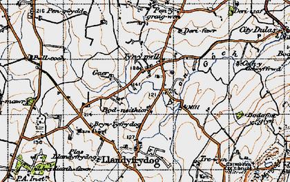 Old map of Afon Goch in 1947