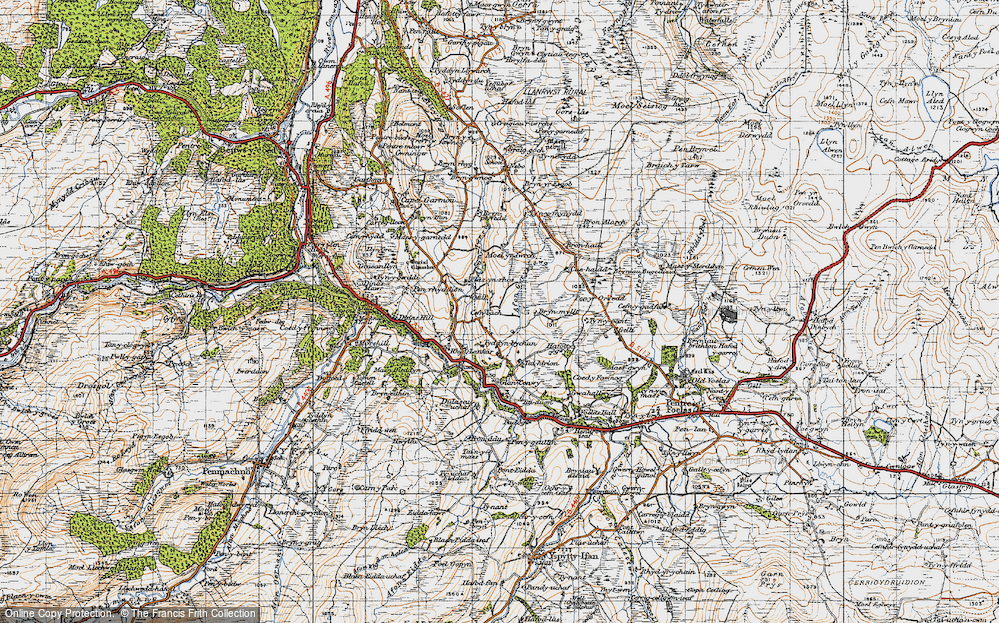 Old Map of Historic Map covering Afon Gwrysgog in 1947