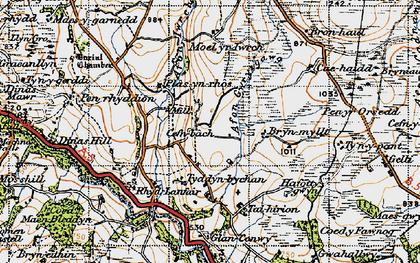 Old map of Afon Gwrysgog in 1947