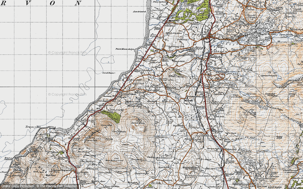 Old Map of Historic Map covering Afon Desach in 1947