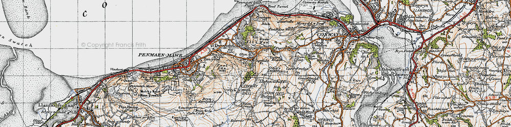 Old map of Capelulo in 1947