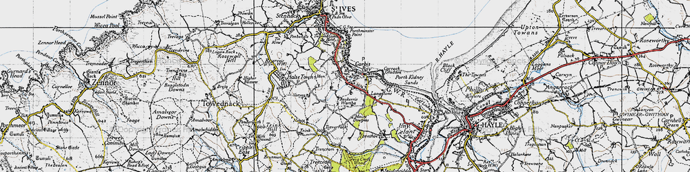 Old map of Carbis Bay in 1946