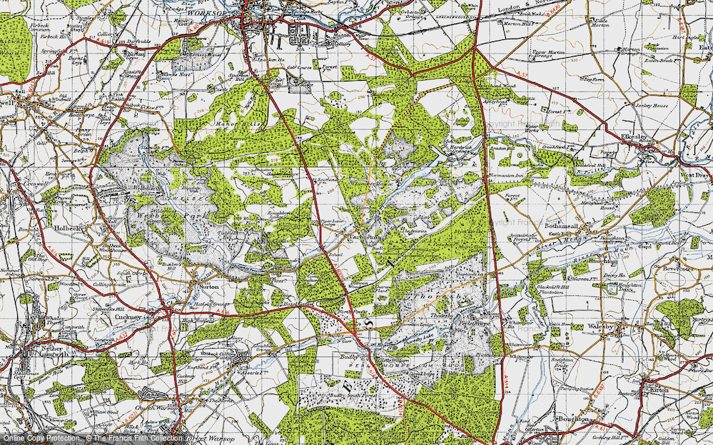 Old Map of Historic Map covering Aviaries, The in 1947