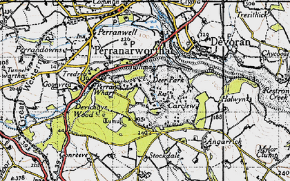 Old map of Carclew in 1946