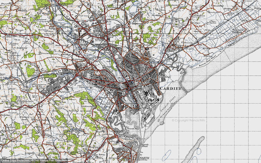 Old Map of Cardiff, 1947 in 1947