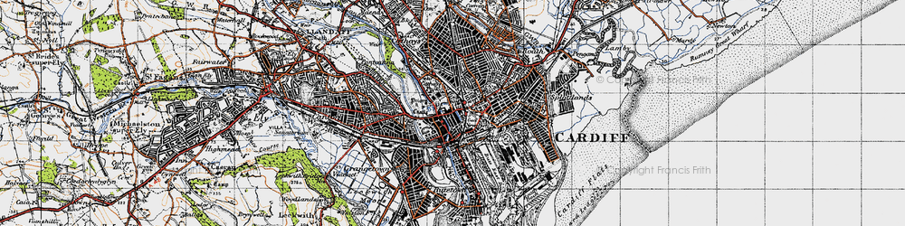 Old map of Cardiff in 1947