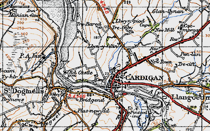 Old map of Cardigan in 1947