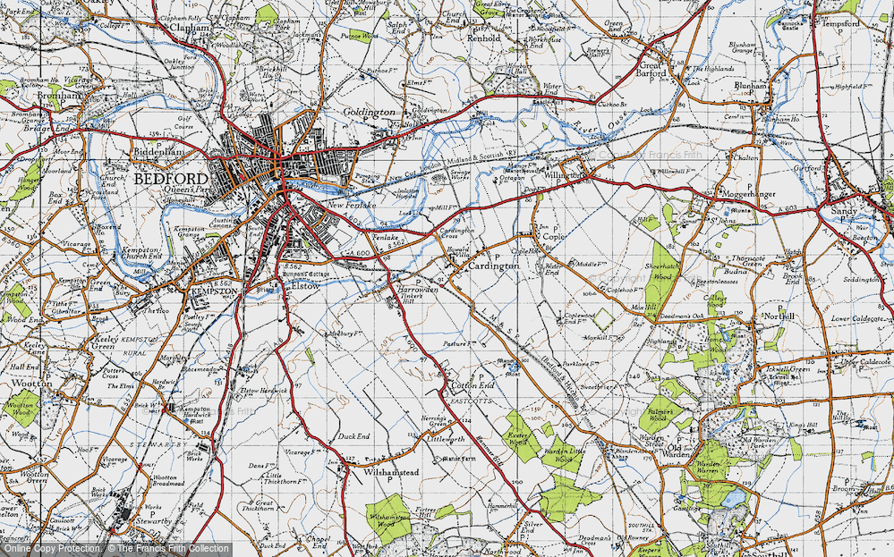 Old Map of Cardington, 1946 in 1946