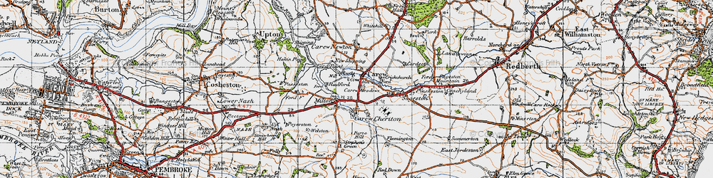 Old map of Carew in 1946